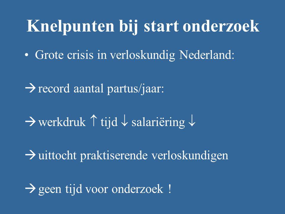 Knelpunten bij start onderzoek Grote crisis in verloskundig Nederland:  record aantal partus/jaar:  werkdruk  tijd  salariëring   uittocht praktiserende verloskundigen  geen tijd voor onderzoek !