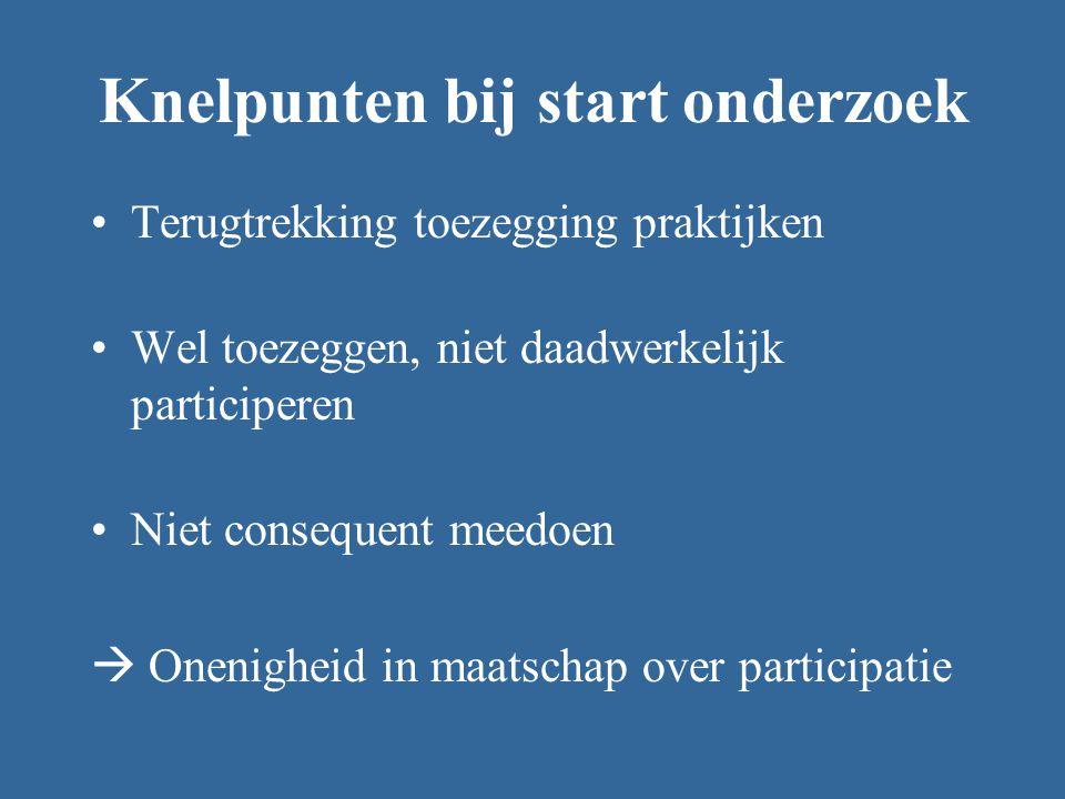 Knelpunten bij start onderzoek Terugtrekking toezegging praktijken Wel toezeggen, niet daadwerkelijk participeren Niet consequent meedoen  Onenigheid