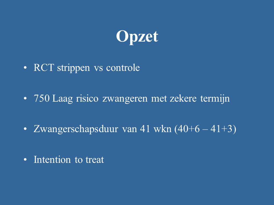 Opzet RCT strippen vs controle 750 Laag risico zwangeren met zekere termijn Zwangerschapsduur van 41 wkn (40+6 – 41+3) Intention to treat
