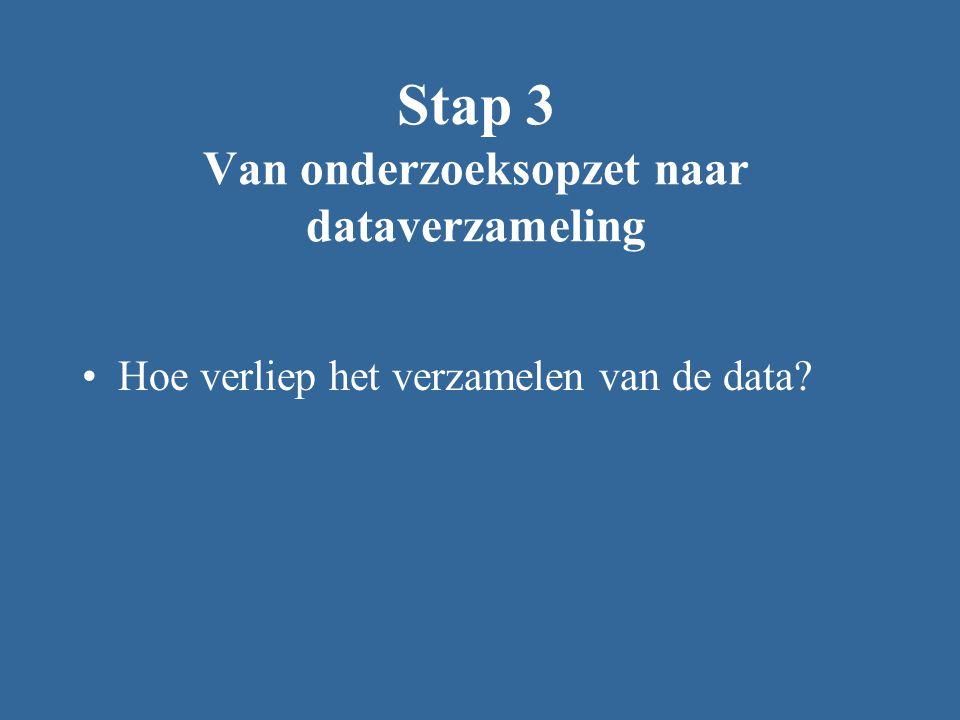 Stap 3 Van onderzoeksopzet naar dataverzameling Hoe verliep het verzamelen van de data?