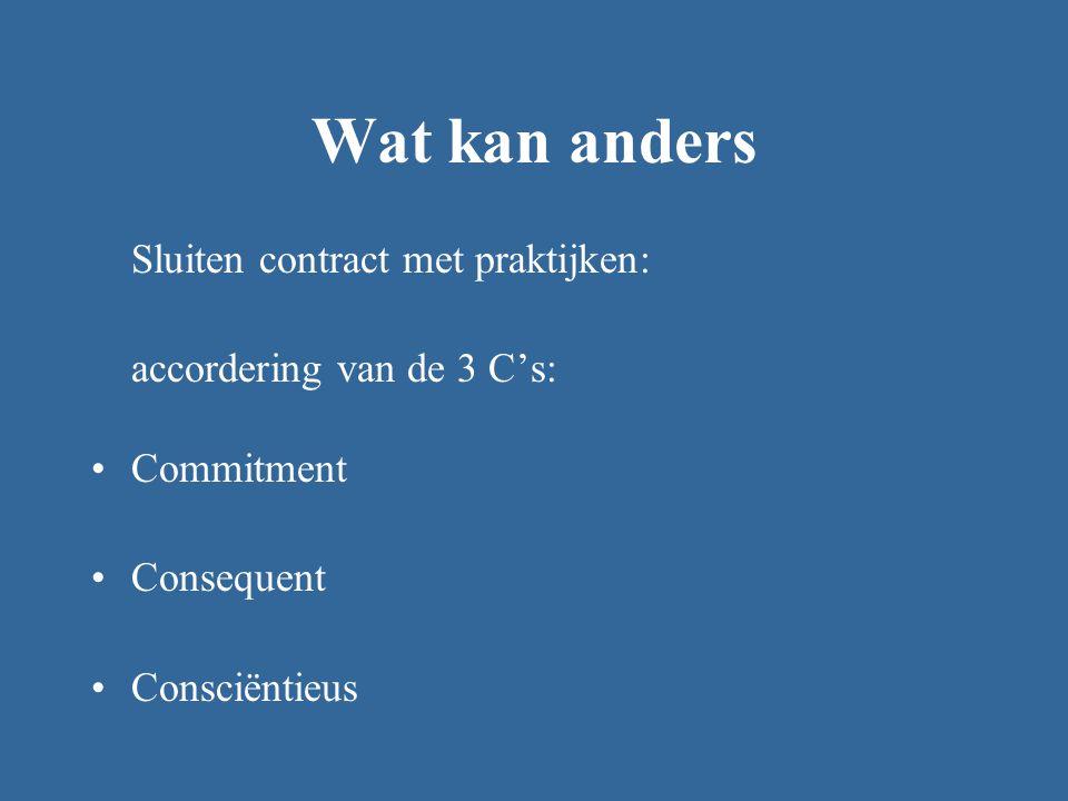 Wat kan anders Sluiten contract met praktijken: accordering van de 3 C's: Commitment Consequent Consciëntieus