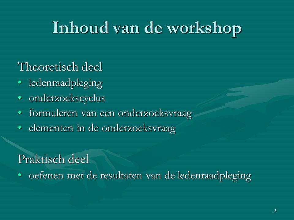 3 Inhoud van de workshop Theoretisch deel ledenraadplegingledenraadpleging onderzoekscyclusonderzoekscyclus formuleren van een onderzoeksvraagformuler