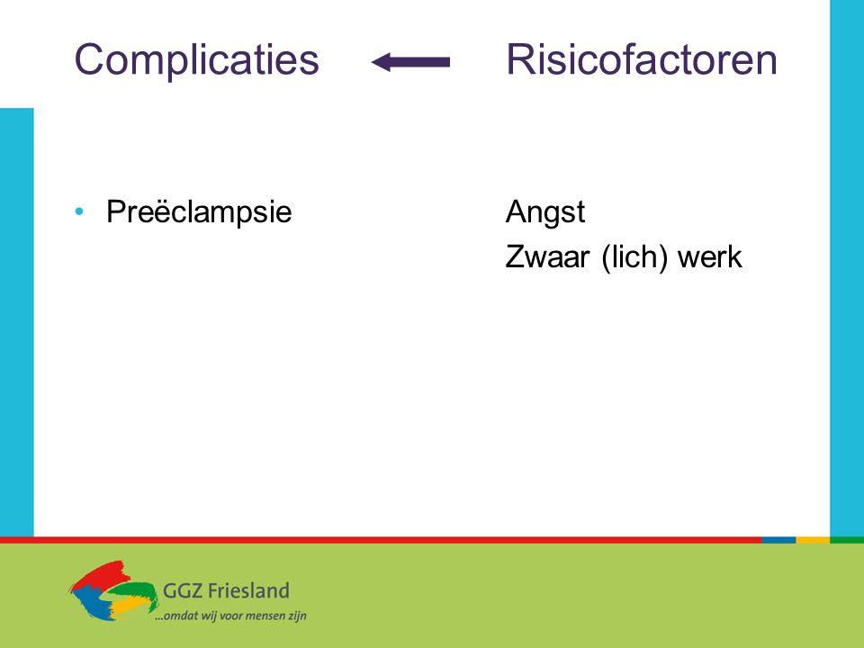 ComplicatiesRisicofactoren PreëclampsieAngst Zwaar (lich) werk