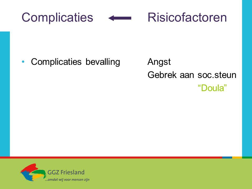 """ComplicatiesRisicofactoren Complicaties bevallingAngst Gebrek aan soc.steun """"Doula"""""""