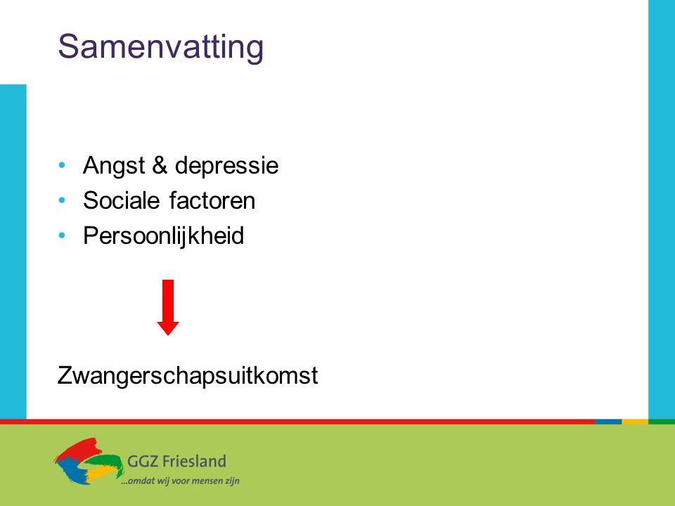 Samenvatting Angst & depressie Sociale factoren Persoonlijkheid Zwangerschapsuitkomst