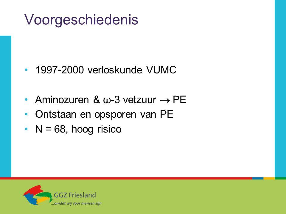 Voorgeschiedenis 1997-2000 verloskunde VUMC Aminozuren & ω-3 vetzuur  PE Ontstaan en opsporen van PE N = 68, hoog risico