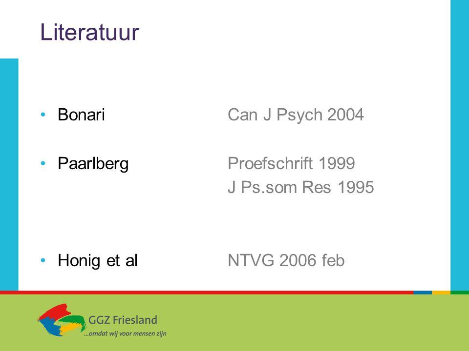 Literatuur Bonari Can J Psych 2004 PaarlbergProefschrift 1999 J Ps.som Res 1995 Honig et al NTVG 2006 feb