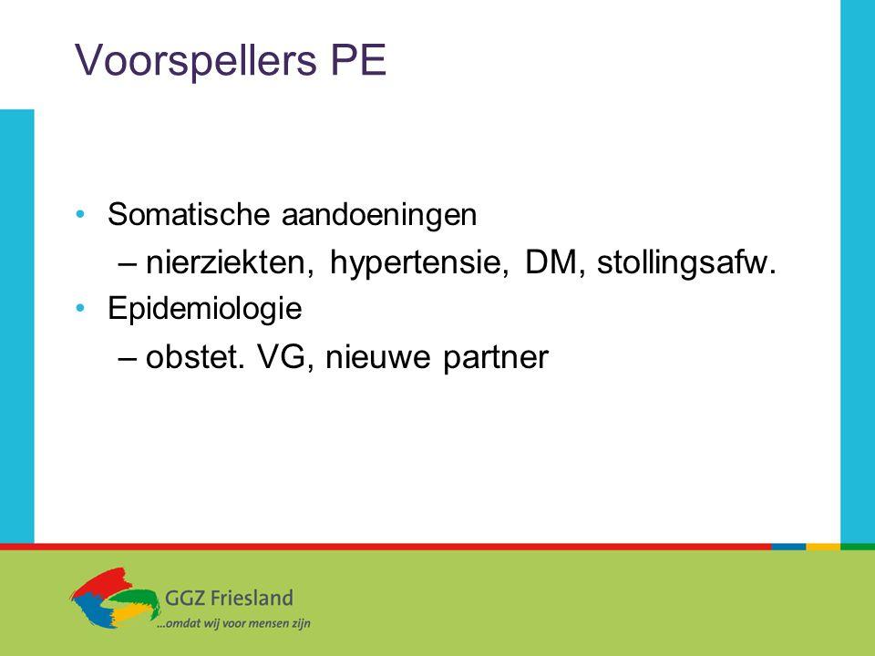 Voorspellers PE Somatische aandoeningen –nierziekten, hypertensie, DM, stollingsafw. Epidemiologie –obstet. VG, nieuwe partner