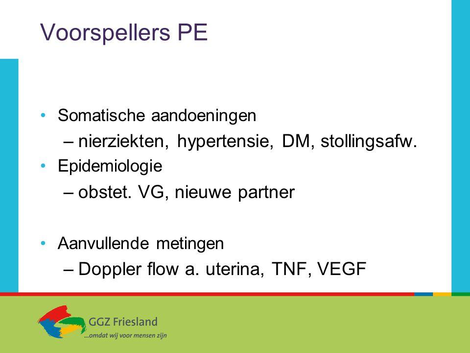Voorspellers PE Somatische aandoeningen –nierziekten, hypertensie, DM, stollingsafw. Epidemiologie –obstet. VG, nieuwe partner Aanvullende metingen –D