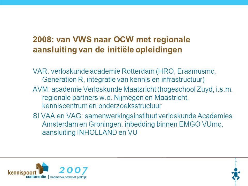 2008: van VWS naar OCW met regionale aansluiting van de initiële opleidingen VAR: verloskunde academie Rotterdam (HRO, Erasmusmc, Generation R, integratie van kennis en infrastructuur) AVM: academie Verloskunde Maatsricht (hogeschool Zuyd, i.s.m.