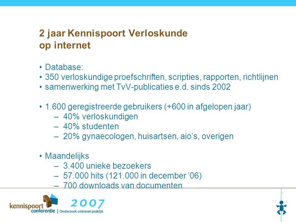Database: 350 verloskundige proefschriften, scripties, rapporten, richtlijnen samenwerking met TvV-publicaties e.d. sinds 2002 1.600 geregistreerde ge