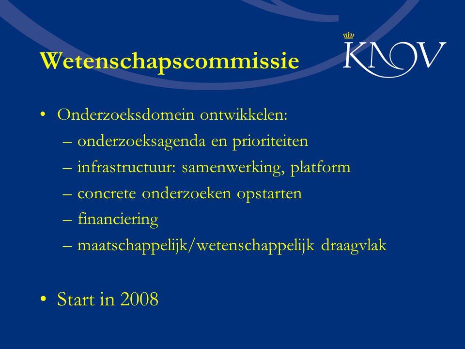 Wetenschapscommissie Onderzoeksdomein ontwikkelen: –onderzoeksagenda en prioriteiten –infrastructuur: samenwerking, platform –concrete onderzoeken opstarten –financiering –maatschappelijk/wetenschappelijk draagvlak Start in 2008