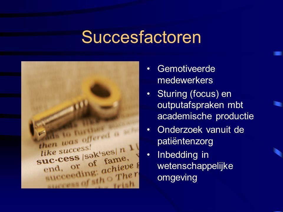 Succesfactoren Gemotiveerde medewerkers Sturing (focus) en outputafspraken mbt academische productie Onderzoek vanuit de patiëntenzorg Inbedding in we