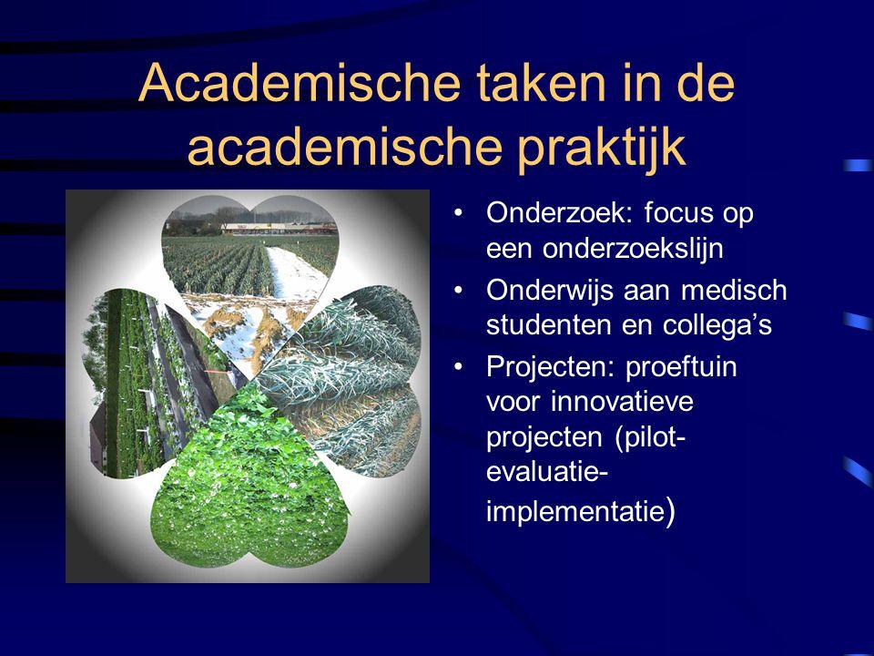 Academische taken in de academische praktijk Onderzoek: focus op een onderzoekslijn Onderwijs aan medisch studenten en collega's Projecten: proeftuin