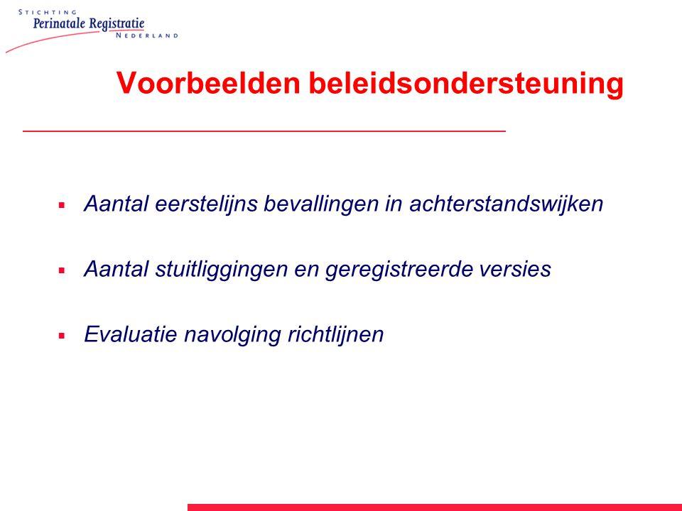 Voorbeelden beleidsondersteuning  Aantal eerstelijns bevallingen in achterstandswijken  Aantal stuitliggingen en geregistreerde versies  Evaluatie