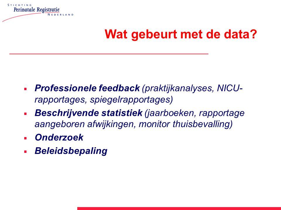 Wat gebeurt met de data?  Professionele feedback (praktijkanalyses, NICU- rapportages, spiegelrapportages)  Beschrijvende statistiek (jaarboeken, ra