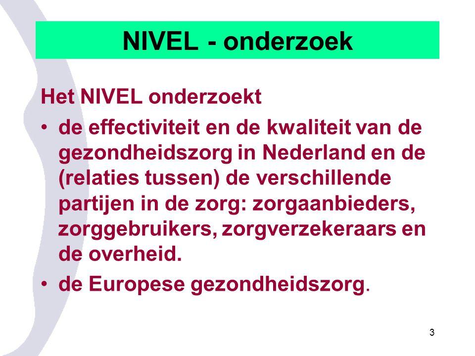 3 NIVEL - onderzoek Het NIVEL onderzoekt de effectiviteit en de kwaliteit van de gezondheidszorg in Nederland en de (relaties tussen) de verschillende partijen in de zorg: zorgaanbieders, zorggebruikers, zorgverzekeraars en de overheid.