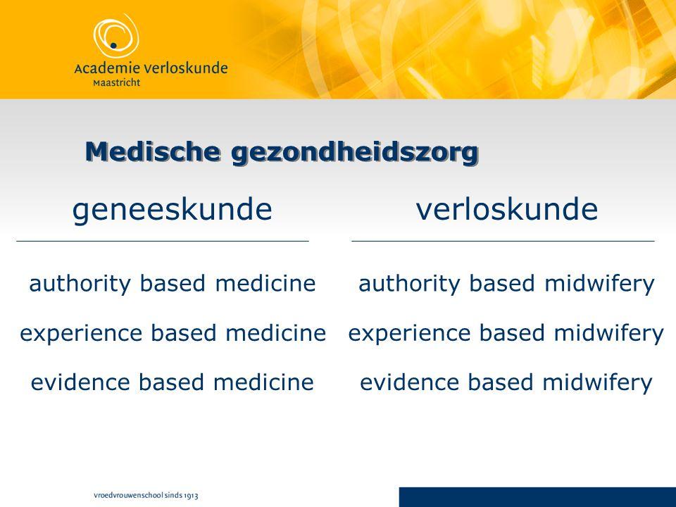 Medische gezondheidszorg geneeskundeverloskunde authority based medicineauthority based midwifery experience based medicine experience based midwifery