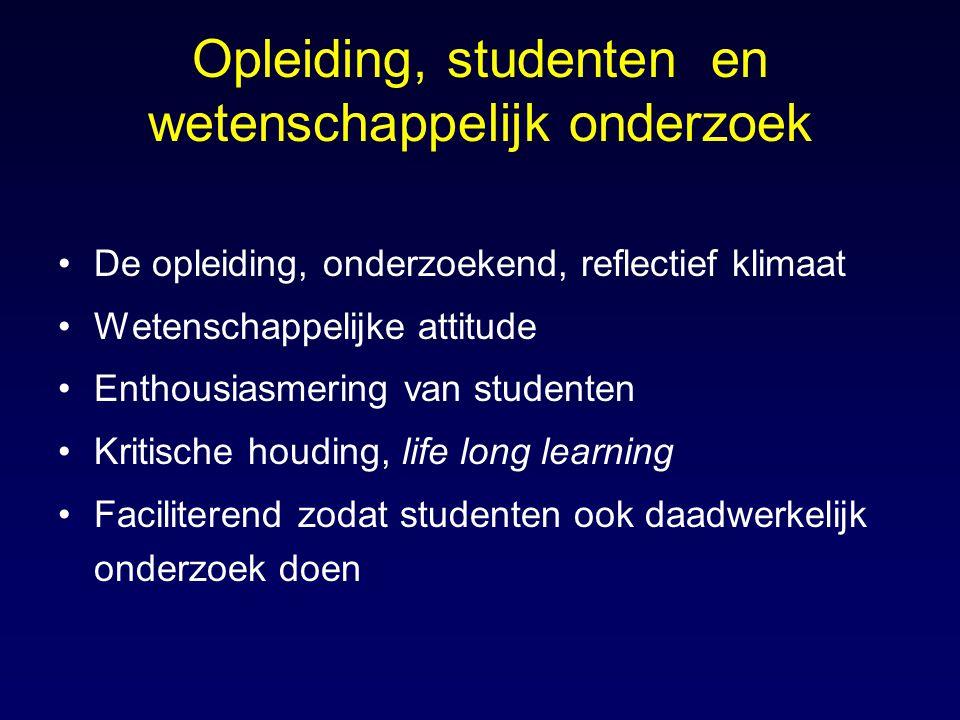 Opleiding, studenten en wetenschappelijk onderzoek De opleiding, onderzoekend, reflectief klimaat Wetenschappelijke attitude Enthousiasmering van stud