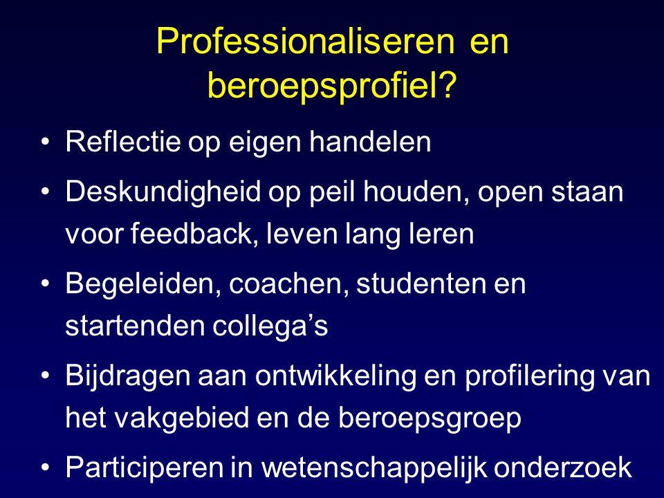 Professionaliseren en beroepsprofiel? Reflectie op eigen handelen Deskundigheid op peil houden, open staan voor feedback, leven lang leren Begeleiden,