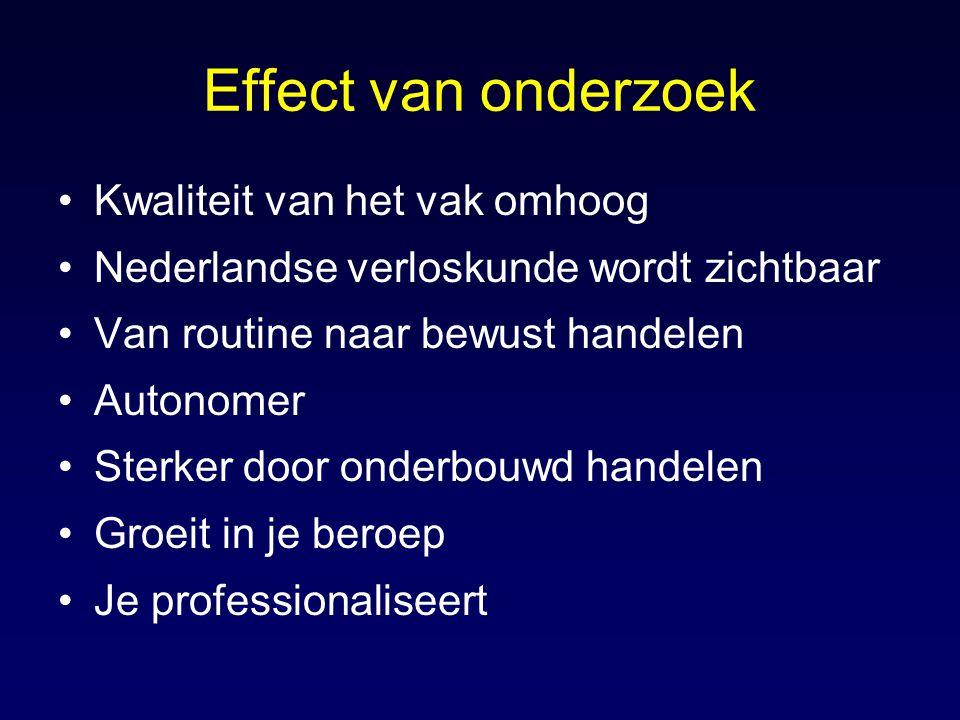 Effect van onderzoek Kwaliteit van het vak omhoog Nederlandse verloskunde wordt zichtbaar Van routine naar bewust handelen Autonomer Sterker door onde
