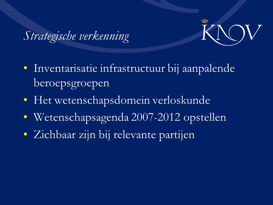 Strategische verkenning Inventarisatie infrastructuur bij aanpalende beroepsgroepen Het wetenschapsdomein verloskunde Wetenschapsagenda 2007-2012 opstellen Zichbaar zijn bij relevante partijen