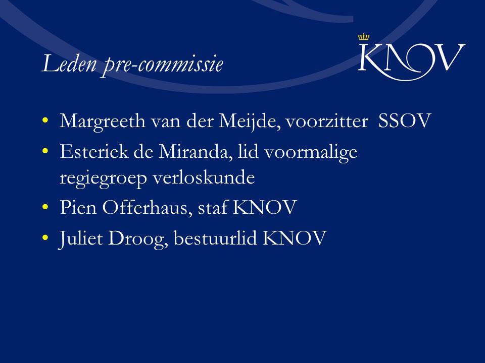 Taken precommissie Opdracht wetenschapscommissie formuleren Voorvisie op wetenschappelijk profiel Mission statement formuleren Profiel wetenschapscommissie en Raad van Advies Begroting