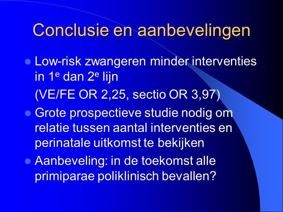 Conclusie en aanbevelingen Low-risk zwangeren minder interventies in 1 e dan 2 e lijn (VE/FE OR 2,25, sectio OR 3,97) Grote prospectieve studie nodig