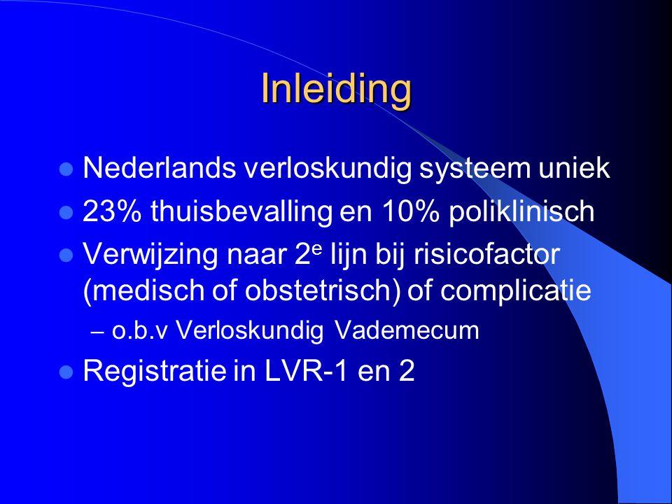 Inleiding Nederlands verloskundig systeem uniek 23% thuisbevalling en 10% poliklinisch Verwijzing naar 2 e lijn bij risicofactor (medisch of obstetris