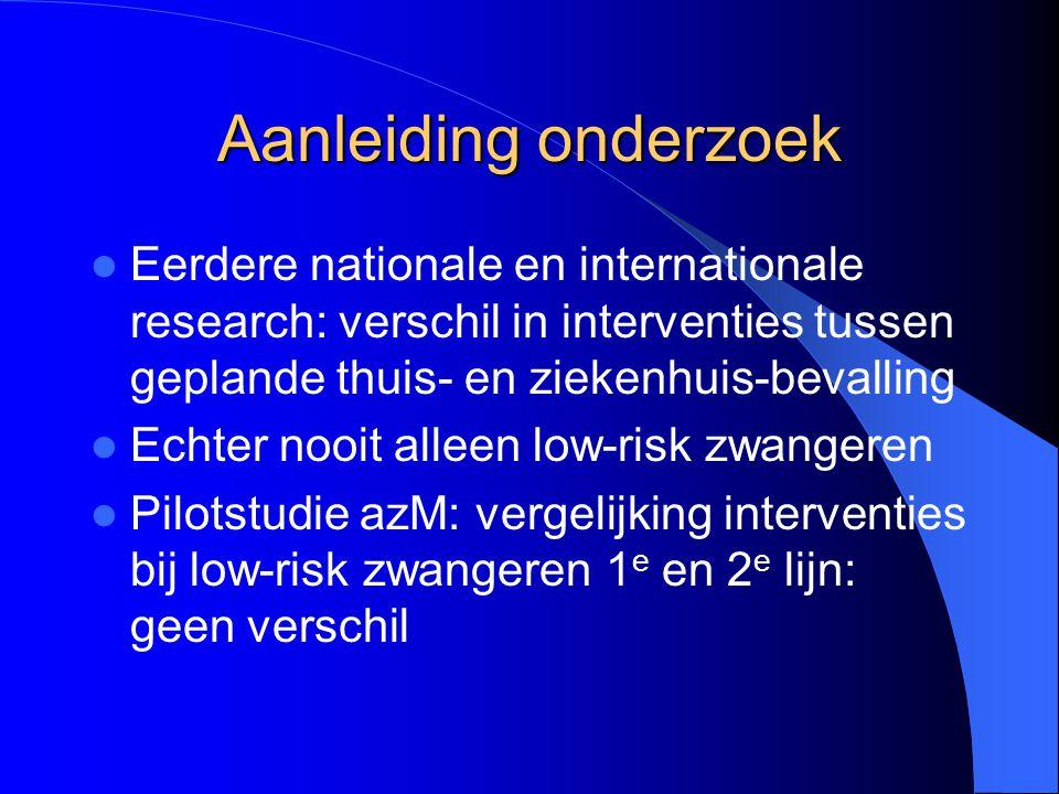 Aanleiding onderzoek Eerdere nationale en internationale research: verschil in interventies tussen geplande thuis- en ziekenhuis-bevalling Echter nooi