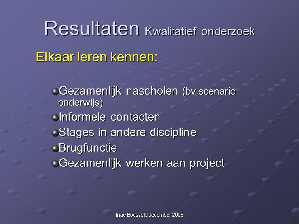 Inge Boesveld december 2008 Resultaten Kwalitatief onderzoek Elkaar leren kennen: Gezamenlijk nascholen (bv scenario onderwijs) Informele contacten St