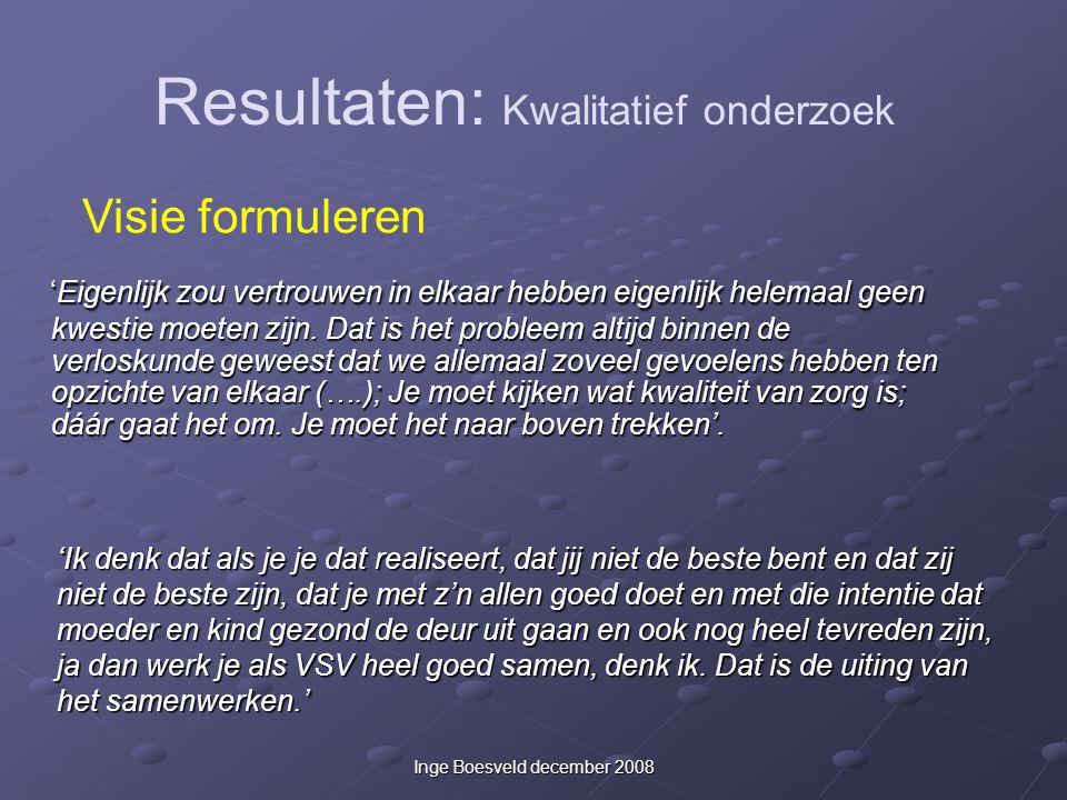 Inge Boesveld december 2008 'Eigenlijk zou vertrouwen in elkaar hebben eigenlijk helemaal geen kwestie moeten zijn. Dat is het probleem altijd binnen
