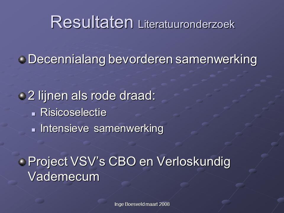 Inge Boesveld maart 2008 Resultaten Literatuuronderzoek Decennialang bevorderen samenwerking 2 lijnen als rode draad: Risicoselectie Risicoselectie In