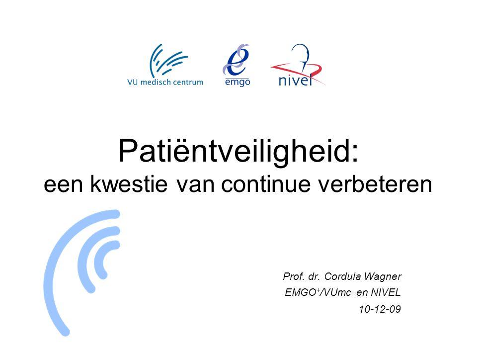 Patiëntveiligheid: een kwestie van continue verbeteren Prof. dr. Cordula Wagner EMGO + /VUmc en NIVEL 10-12-09