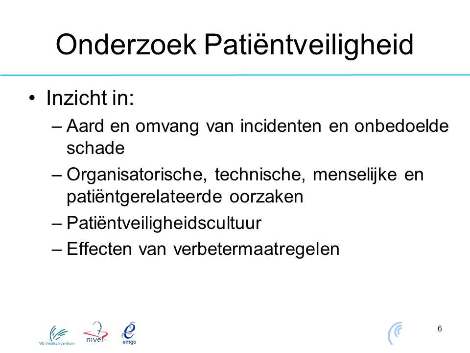 6 Onderzoek Patiëntveiligheid Inzicht in: –Aard en omvang van incidenten en onbedoelde schade –Organisatorische, technische, menselijke en patiëntgere