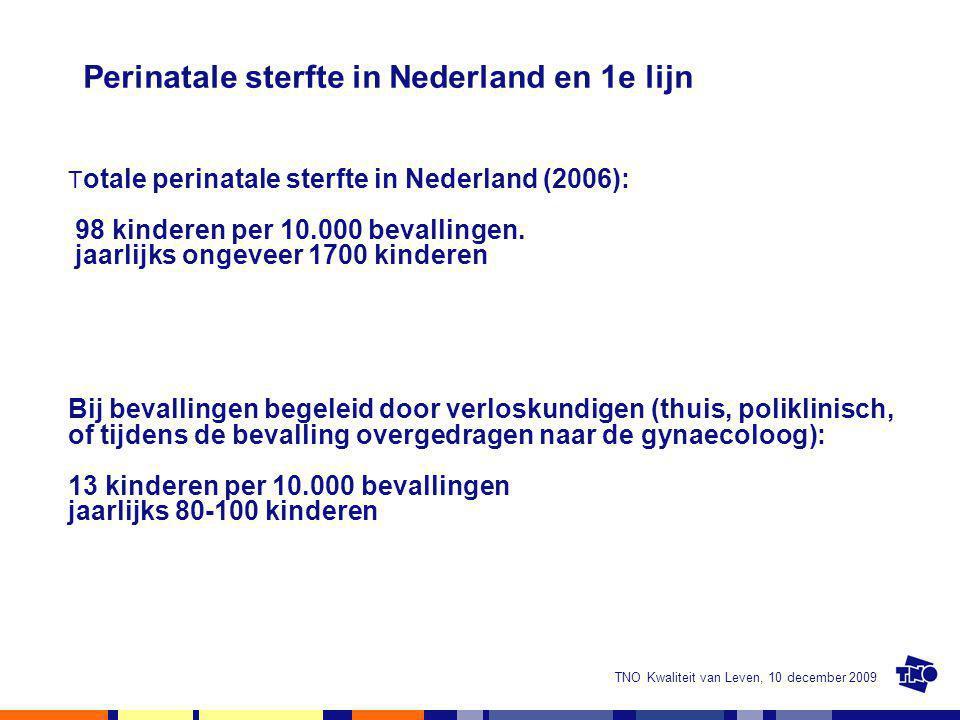 TNO Kwaliteit van Leven, 10 december 2009 Perinatale sterfte in Nederland en 1e lijn T otale perinatale sterfte in Nederland (2006): 98 kinderen per 1
