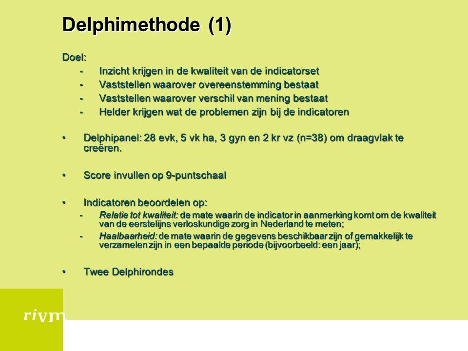 Delphimethode (1) Doel: -Inzicht krijgen in de kwaliteit van de indicatorset -Vaststellen waarover overeenstemming bestaat -Vaststellen waarover versc