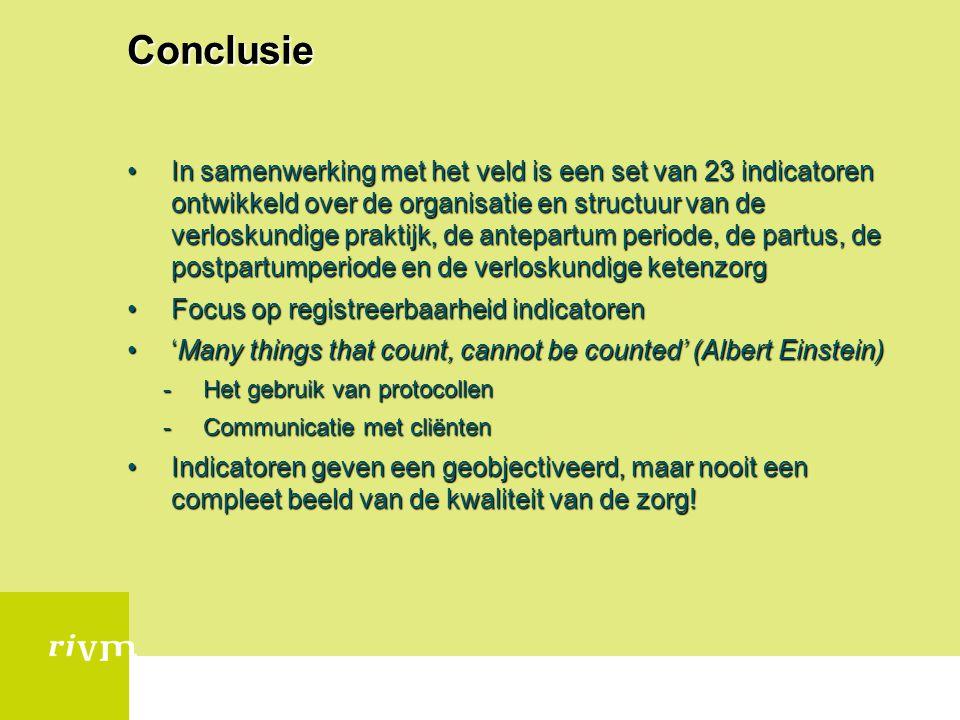Conclusie In samenwerking met het veld is een set van 23 indicatoren ontwikkeld over de organisatie en structuur van de verloskundige praktijk, de ant