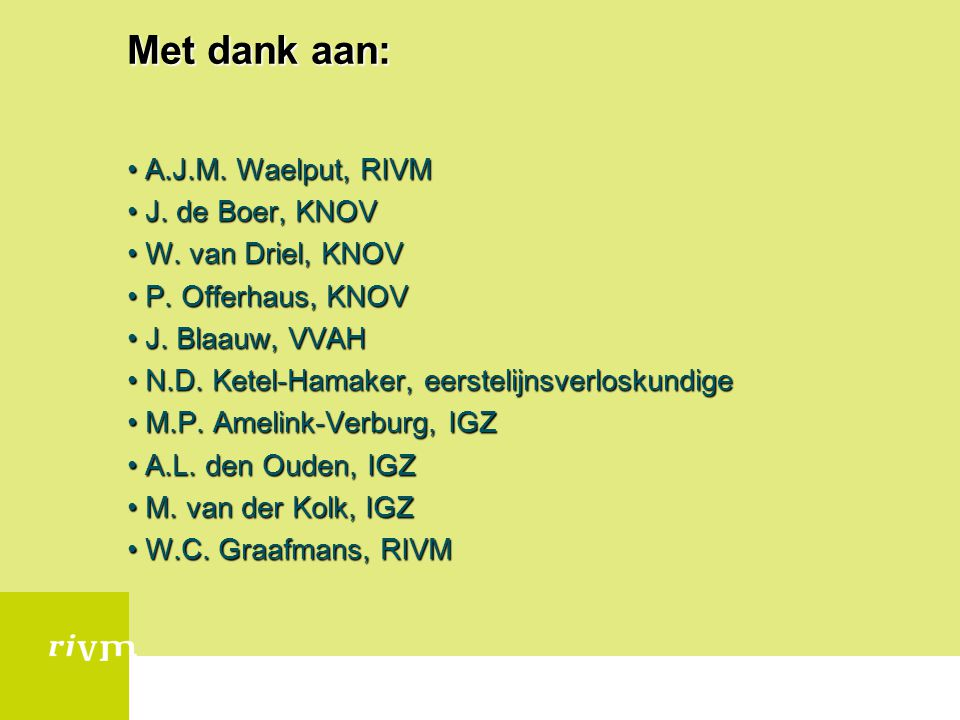 Met dank aan: A.J.M. Waelput, RIVMA.J.M. Waelput, RIVM J. de Boer, KNOVJ. de Boer, KNOV W. van Driel, KNOVW. van Driel, KNOV P. Offerhaus, KNOVP. Offe
