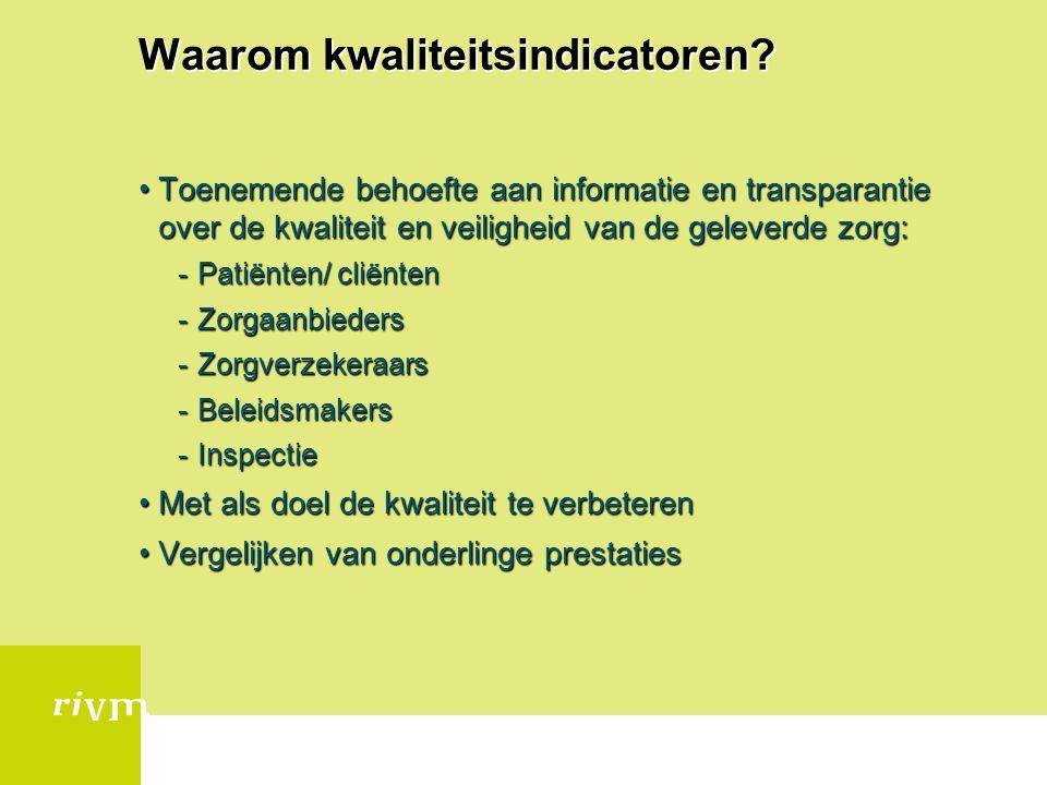 Waarom kwaliteitsindicatoren? Toenemende behoefte aan informatie en transparantie over de kwaliteit en veiligheid van de geleverde zorg:Toenemende beh