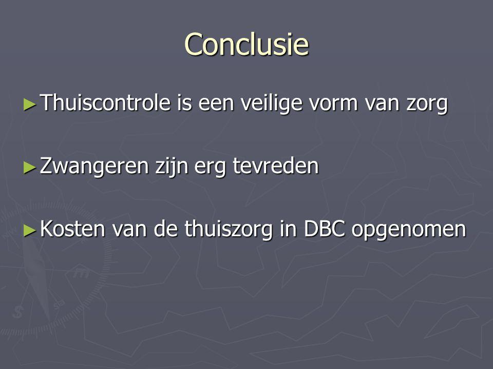 Conclusie ► Thuiscontrole is een veilige vorm van zorg ► Zwangeren zijn erg tevreden ► Kosten van de thuiszorg in DBC opgenomen