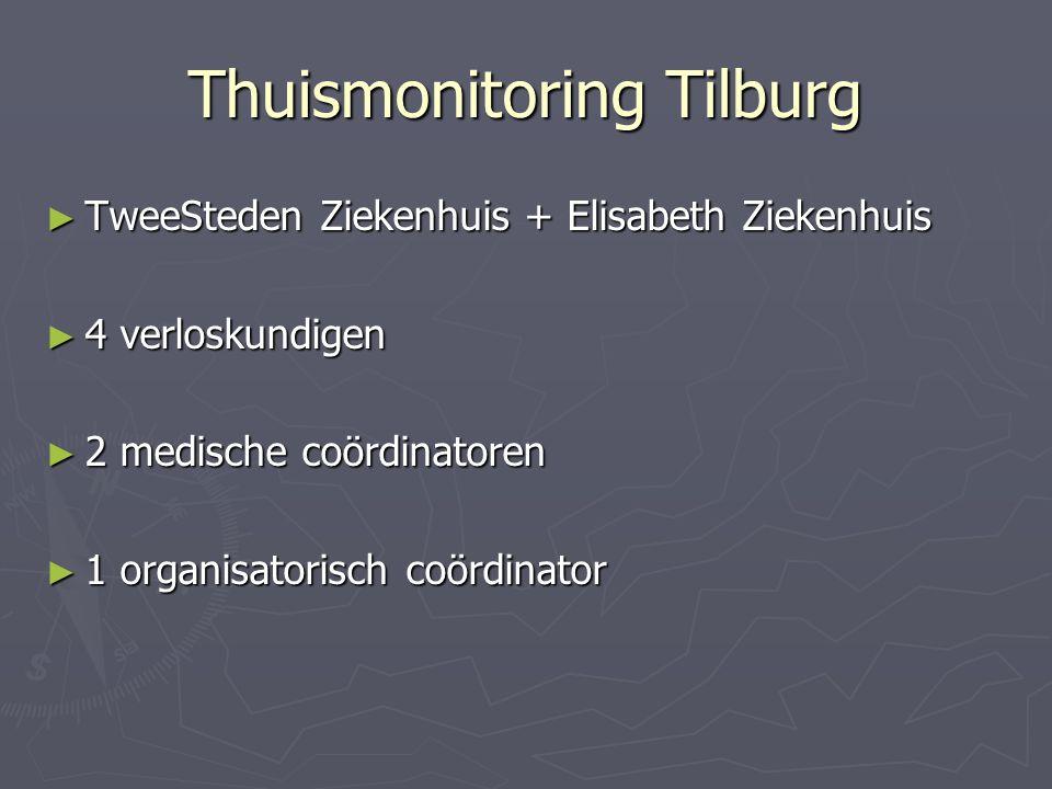 Thuismonitoring Tilburg ► TweeSteden Ziekenhuis + Elisabeth Ziekenhuis ► 4 verloskundigen ► 2 medische coördinatoren ► 1 organisatorisch coördinator
