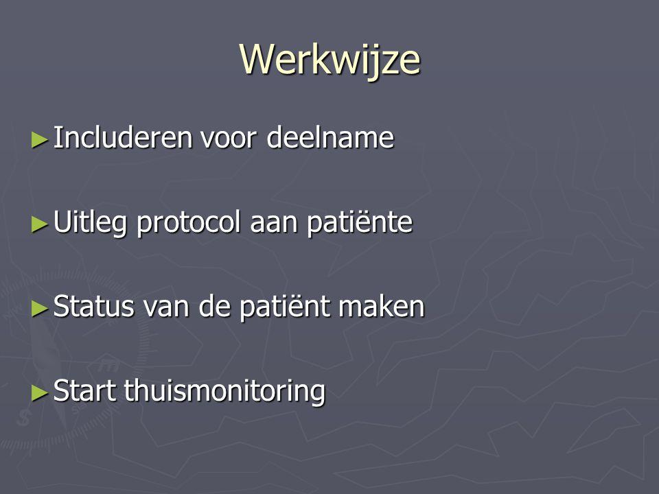 Werkwijze ► Includeren voor deelname ► Uitleg protocol aan patiënte ► Status van de patiënt maken ► Start thuismonitoring