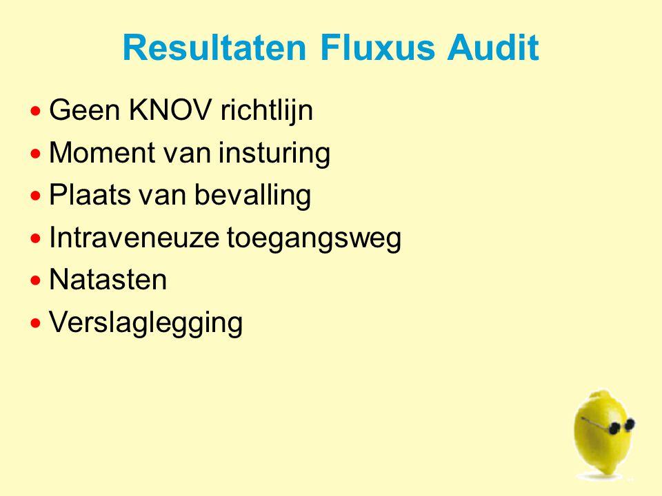 Resultaten Fluxus Audit Geen KNOV richtlijn Moment van insturing Plaats van bevalling Intraveneuze toegangsweg Natasten Verslaglegging