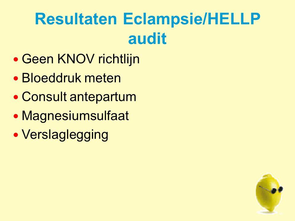 Resultaten Eclampsie/HELLP audit Geen KNOV richtlijn Bloeddruk meten Consult antepartum Magnesiumsulfaat Verslaglegging