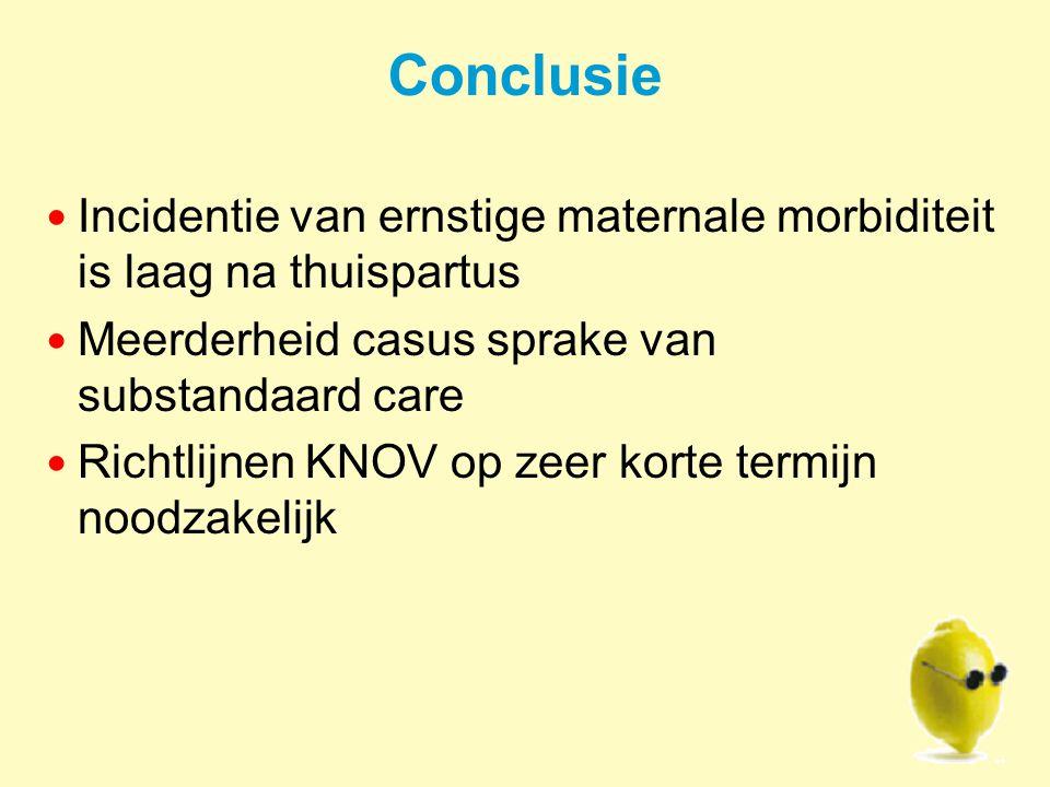 Conclusie Incidentie van ernstige maternale morbiditeit is laag na thuispartus Meerderheid casus sprake van substandaard care Richtlijnen KNOV op zeer