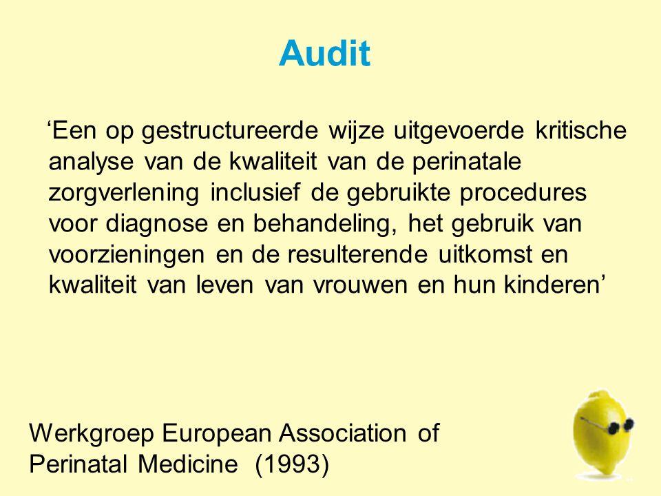 Audit 'Een op gestructureerde wijze uitgevoerde kritische analyse van de kwaliteit van de perinatale zorgverlening inclusief de gebruikte procedures voor diagnose en behandeling, het gebruik van voorzieningen en de resulterende uitkomst en kwaliteit van leven van vrouwen en hun kinderen' Werkgroep European Association of Perinatal Medicine (1993)