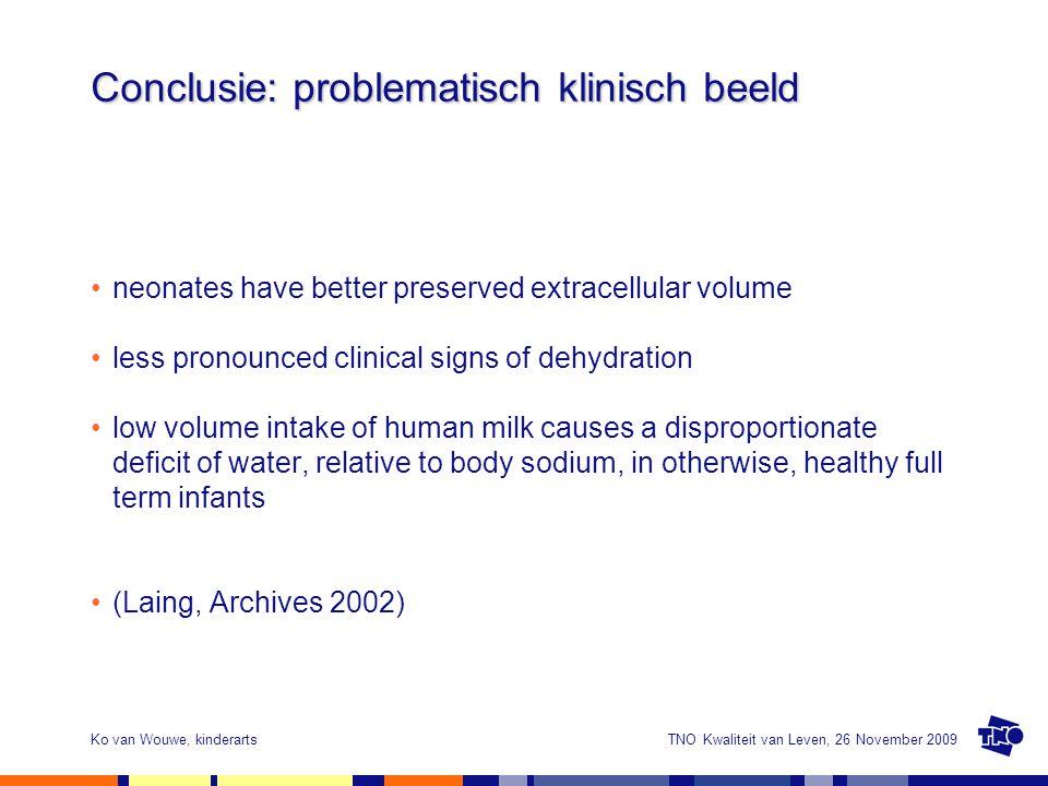 TNO Kwaliteit van Leven, 26 November 2009Ko van Wouwe, kinderarts Conclusie: problematisch klinisch beeld neonates have better preserved extracellular
