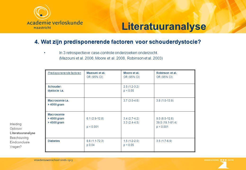 Literatuuranalyse Inleiding Opbouw Literatuuranalyse Beschouwing Eindconclusie Vragen? 4. Wat zijn predisponerende factoren voor schouderdystocie? In