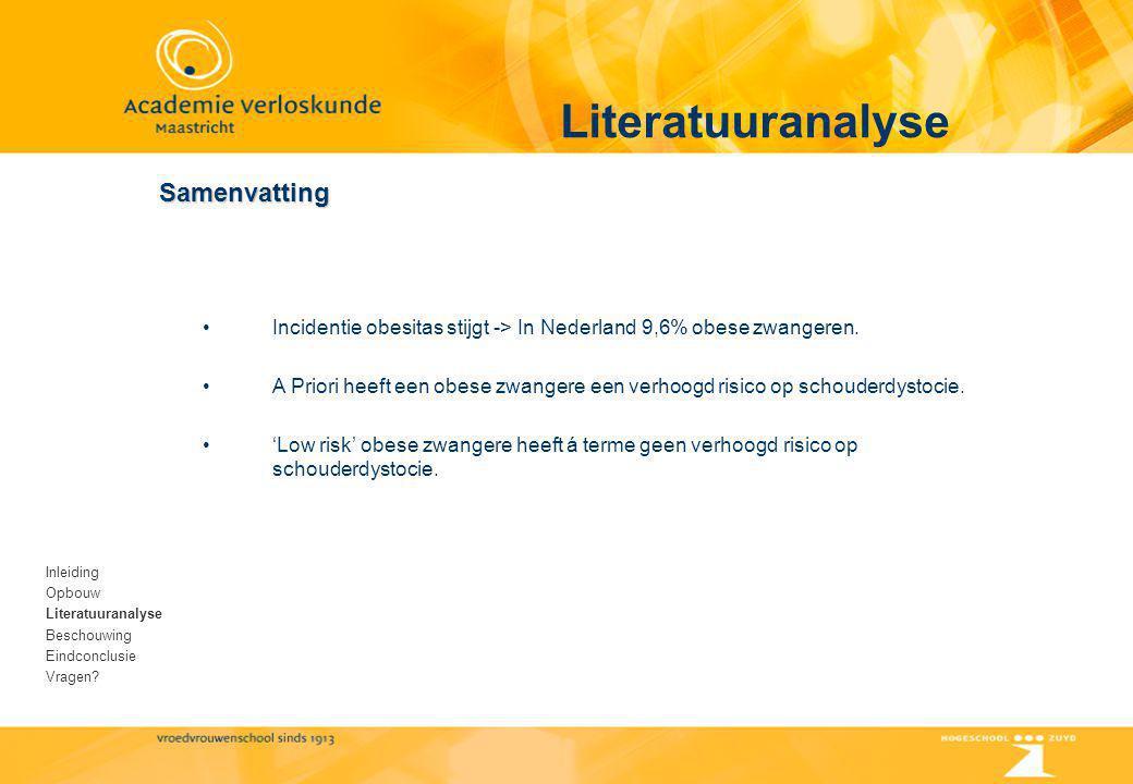 Literatuuranalyse Samenvatting Inleiding Opbouw Literatuuranalyse Beschouwing Eindconclusie Vragen? Incidentie obesitas stijgt -> In Nederland 9,6% ob